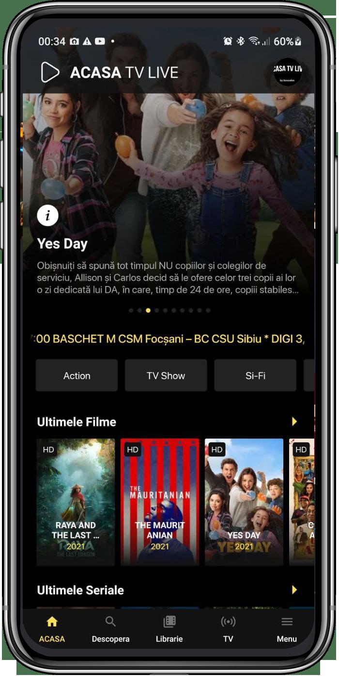 ACASATV Live App HomePage